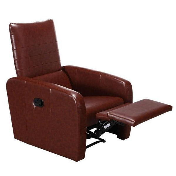 Manual Recliner Sofa Chair Contemporary Foldable-Back Leather Reclining Chair Modern Living Room