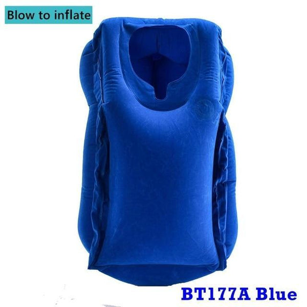 PINkart-USA BT177A Blue / China Inflatable Pillow Innovative Air Travel Neck Pillows Head Chin Support Cushion For Flights Car