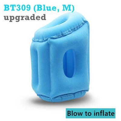 PINkart-USA BT309-M Blue / China Inflatable Pillow Innovative Air Travel Neck Pillows Head Chin Support Cushion For Flights Car