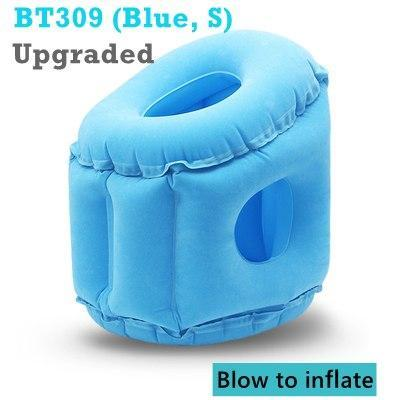 PINkart-USA BT309-S Blue / China Inflatable Pillow Innovative Air Travel Neck Pillows Head Chin Support Cushion For Flights Car