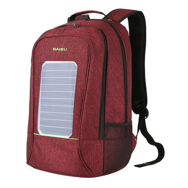 PINkart-USA Burgundy Multifunction Solar Energy Men Women Backpack Anti Thief Waterproof 15.6 Inch Laptop Usb Charging Backpack Leisure Travel Bags