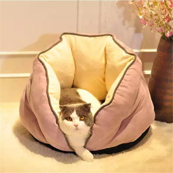 PINkart-USA Cat Bed Winter Deep Sleep Semi-Closed Kitten House Warm Soft Dog Bed For Small Dogs Thicken Suede