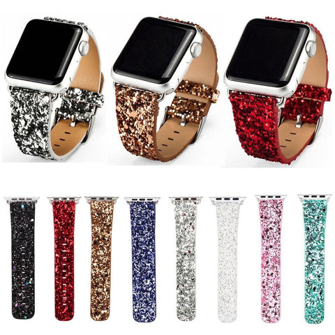 PINkart-USA China / Black / 38mm Dahase Bling Christmas Shiny Glitter Pu Leather Band For Apple Watch Series 3 2 1 Strap Belt For
