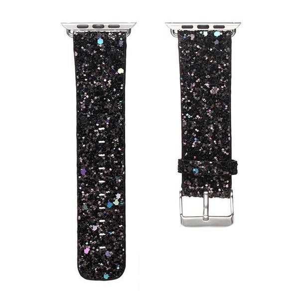 PINkart-USA China / Black / For Apple Watch 42mm Christmas Shiny Glitter Power Leather Bling Luxury Iwatch Band Wristwatch Bracelet Strap For