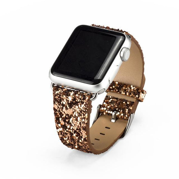 PINkart-USA China / Gold / For Apple Watch 42mm Christmas Shiny Glitter Power Leather Bling Luxury Iwatch Band Wristwatch Bracelet Strap For