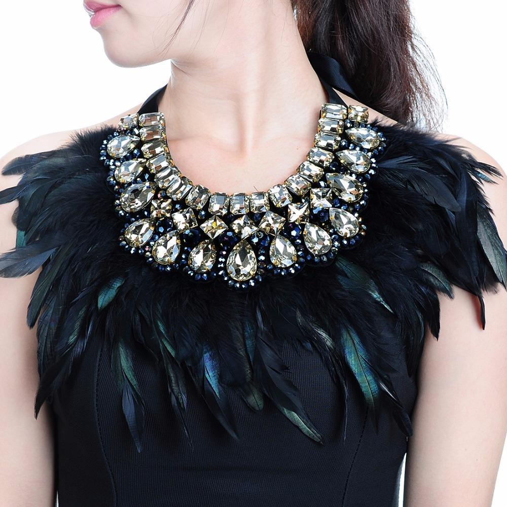 PINkart-USA China Luxury Fashion Jewelry Big Hotsale Feather Shiny Crystal Pendant Statement Bib Colla Choker Charm