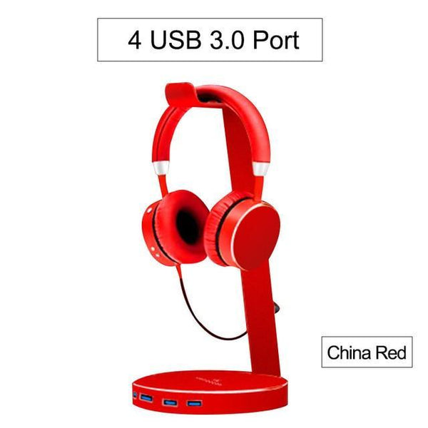 PINkart-USA China Red Hagibis Usb 3.0 Earphone Hanger Headset Headphone Stand Holder With 4 Ports Of 3.0 Usb Hub