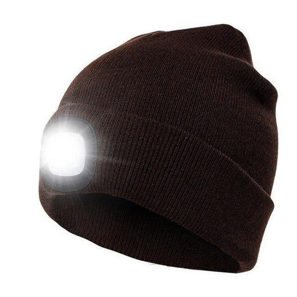 PINkart-USA Coffee Led Headlamp Beanie Cap Rechargeable Lighted Hat With Led Head Light Flashlight For Outdoor Evening