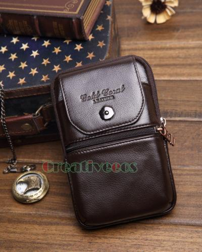PINkart-USA Coffee Men'S Genuine Leather Cowhide Vintage Travel Cell/Mobile Phone Case Cover Belt Hip Bum Pouch Hook