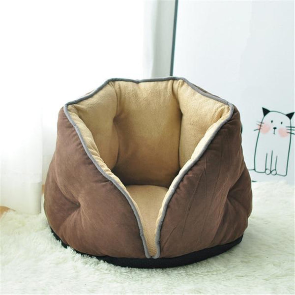 PINkart-USA coffee / S 0-5kg Cat Bed Winter Deep Sleep Semi-Closed Kitten House Warm Soft Dog Bed For Small Dogs Thicken Suede