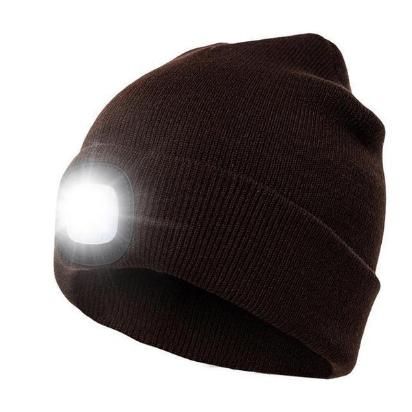 PINkart-USA Coffee Unisex Autumn Winter Led Lighted Cap Warm Beanies Outdoor Fishing Running Beanie Hat Flash