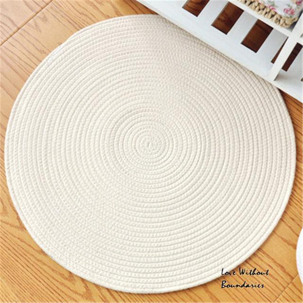 PINkart-USA color as photo 2 / 45cmx45cm Cotton Reversible Carpet ,Pope Woven Carpet Woven Solid Color Round Rug Cushion Circular Living