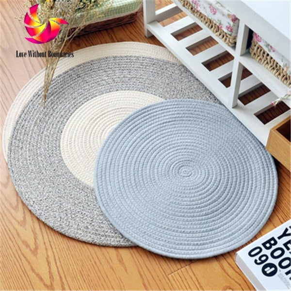PINkart-USA Cotton Reversible Carpet ,Pope Woven Carpet Woven Solid Color Round Rug Cushion Circular Living