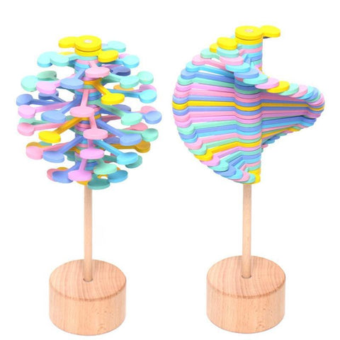 PINkart-USA CSA Wooden Fidget Roll Helicone Magic Wand Stress Relief Toy Rotating Lollipop Creative Art