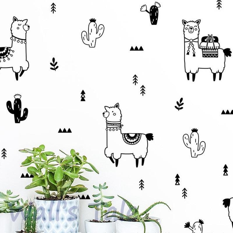 PINkart-USA Cute Alpaca And Cactus Wall Decals Nursery Decor Diy Lovely Llama Cactus Vinyl Art Sticker Home