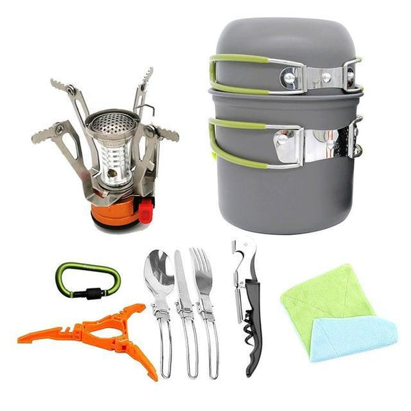 PINkart-USA D Outdoor Hiking Camping Cookware Set 1-2 Person Travel Cookwear Set With Handgrip Tableware Picnic