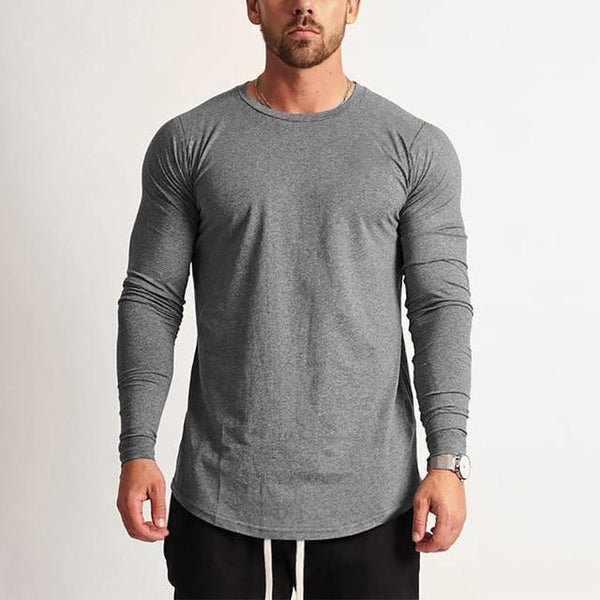 PINkart-USA Dark Grey / L Fashion Long Sleeve T Shirt Men Sporting T-Shirt Men Fitness Crossfit Men'S Solid O-Neck Gyms