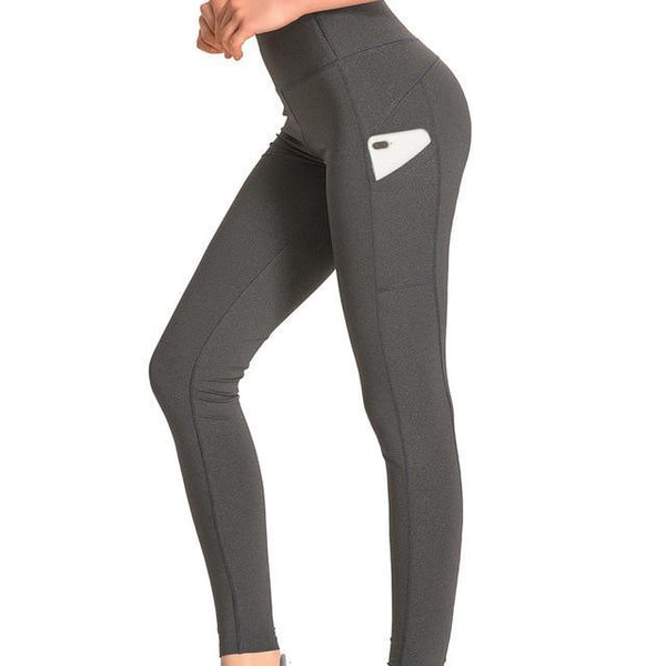 PINkart-USA Dark Grey / L Women Solid Slim Side Pocket Sports Yoga Pants Elastic Waist Sweat-Wicking Breathable Jogging
