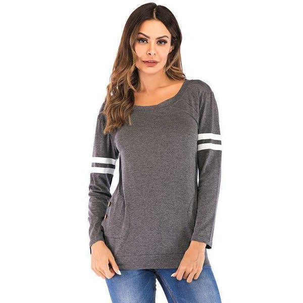 PINkart-USA Dark Grey / S / China Spring Autumn Women'S T-Shirts Patchwork Striped Long Sleeve T-Shirt Quick Dry Fitness Tee Tops