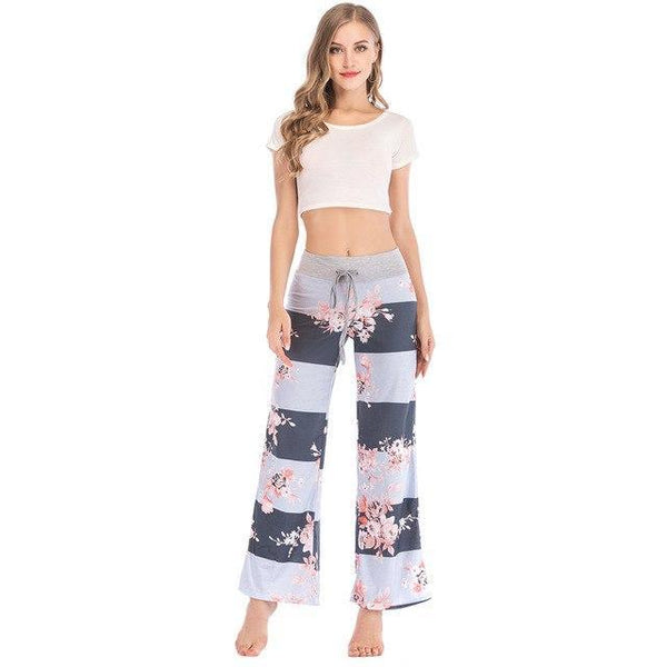 PINkart-USA deep gray / S / China Floral Casual Wide Leg Long Harem Pants High Waist Loose Elastic Waist Palazzo Trousers Plus Size