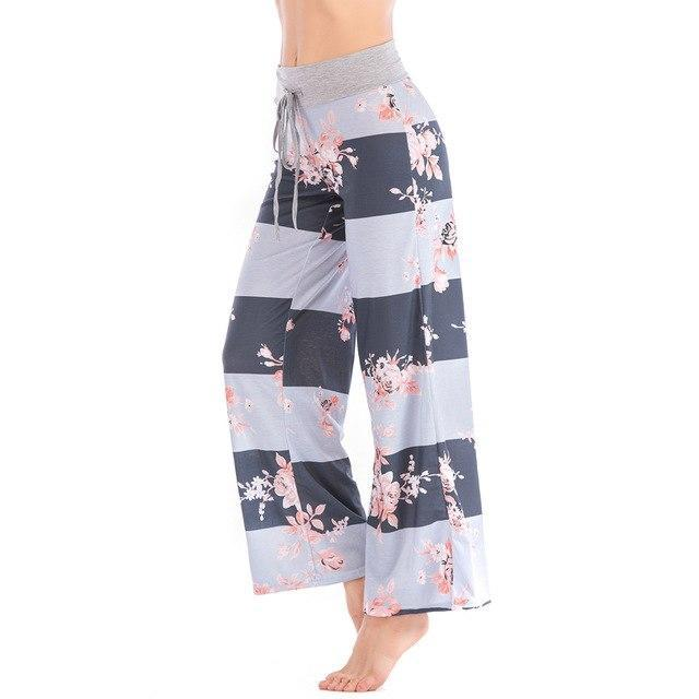 PINkart-USA deep gray / XS Women Loose Floral Print 2018 Wide Leg Pants Loose Mid Waist Straight Trousers Long Female Trousers Fashion Sweatpants