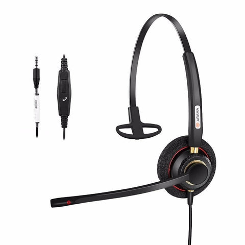PINkart-USA Default Title Arama Cell Phone Headset Mono With Noise Canceling Boom Mic And Adjustable Fit Mobile Phone With