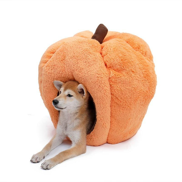 PINkart-USA Default Title Dog House Indoor Halloween Pumpkin Kennel Cat Cave Soft Fleece Warm Bed With Removable Cushion
