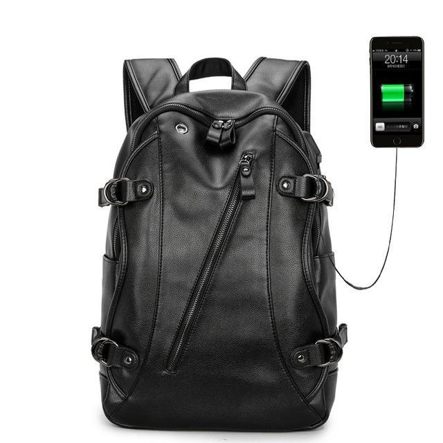 PINkart-USA Default Title Men'S Usb Charging Laptop Backpack Fashion Boys Retro Bag Men Pu Leather Backpacks For Teenager Men Casual Daypacks Mochila Male