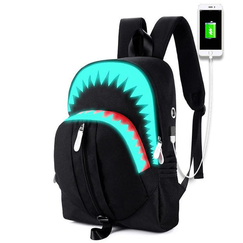 PINkart-USA Default Title Winmax Male New Luminous Fashion Laptop Backpack Teenager Anti-Thief Schoolbag Men Women 15 Inch Usb Charging 3D Shark Backpacks