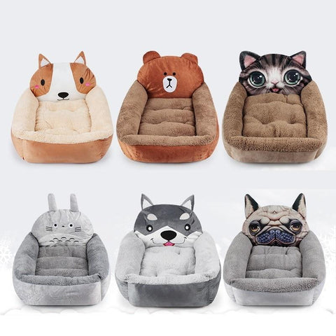 PINkart-USA Design 1 / Large L55xW50xH15 CM 3D Cartoon Totoro Fleece House For Dog Puppy Bed Bench For Dogs Bear Lounger For Dog Bed For Medium