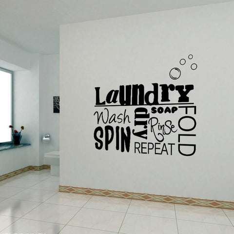 PINkart-USA Diy Vinyl Wall Stickers Laundry Room Mural Wall Decals Removable Wallpaper Home Decor House