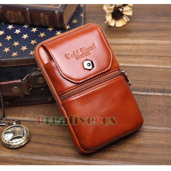 PINkart-USA Earth Yellow Men'S Genuine Leather Cowhide Vintage Travel Cell/Mobile Phone Case Cover Belt Hip Bum Pouch Hook