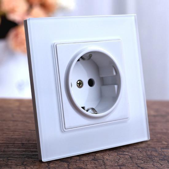 PINkart-USA EU Socket White Switch Home 16A Eu Wall Power Socket, Crystal Glass Panel Grounded Outlet Plug, Ac 110~250V 16A