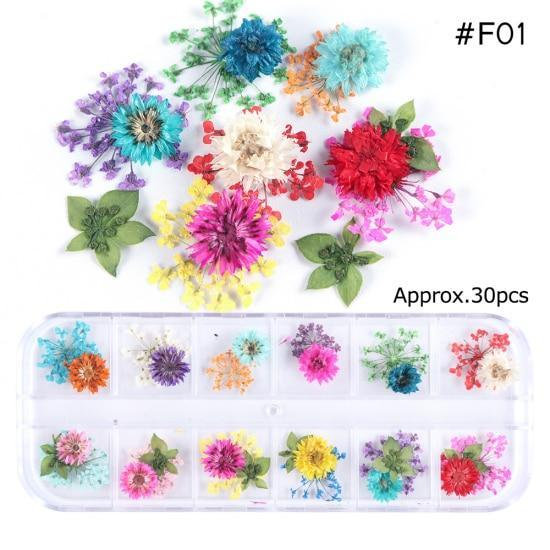 PINkart-USA F01 Mix Dried Flowers Nail Decorations Jewelry Natural Floral Leaf Stickers 3D Nail Art Designs