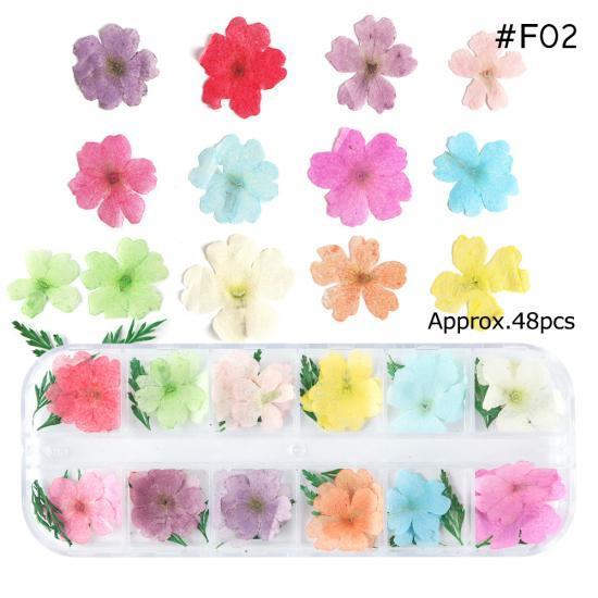 PINkart-USA F02 Mix Dried Flowers Nail Decorations Jewelry Natural Floral Leaf Stickers 3D Nail Art Designs