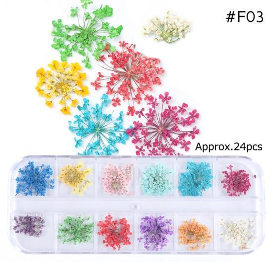 PINkart-USA F03 Mix Dried Flowers Nail Decorations Jewelry Natural Floral Leaf Stickers 3D Nail Art Designs