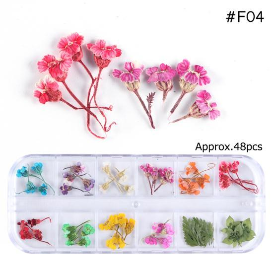 PINkart-USA F04 Mix Dried Flowers Nail Decorations Jewelry Natural Floral Leaf Stickers 3D Nail Art Designs