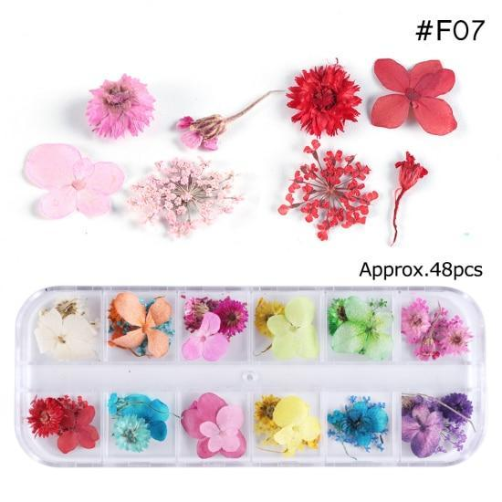 PINkart-USA F07 Mix Dried Flowers Nail Decorations Jewelry Natural Floral Leaf Stickers 3D Nail Art Designs