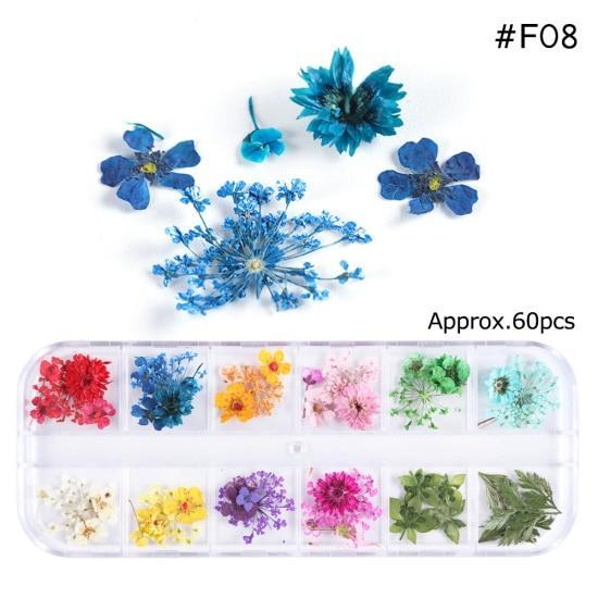 PINkart-USA F08 Mix Dried Flowers Nail Decorations Jewelry Natural Floral Leaf Stickers 3D Nail Art Designs