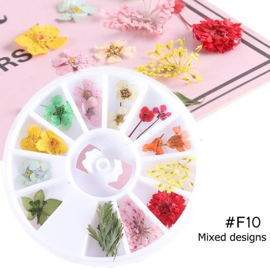 PINkart-USA F10 Mix Dried Flowers Nail Decorations Jewelry Natural Floral Leaf Stickers 3D Nail Art Designs