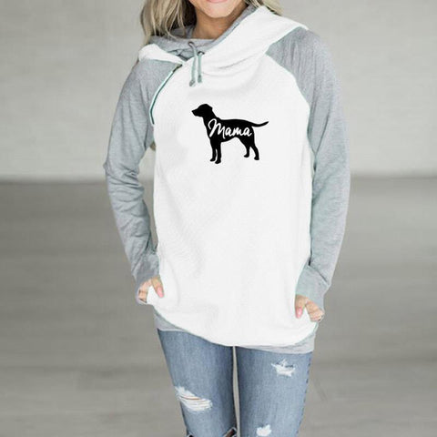 PINkart-USA Fashion Funny Dog Mama Print Sweatshirt Femmes Hoodies Tops Kawaii Pattern Printing Loose Cropped