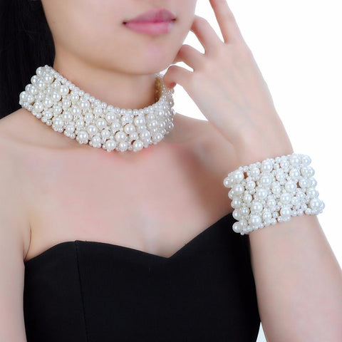 PINkart-USA Fashion Jewelry Chain 3 Colors Pearl Chunky Barcelet Choker Statement Bib Bracelet Necklace Set