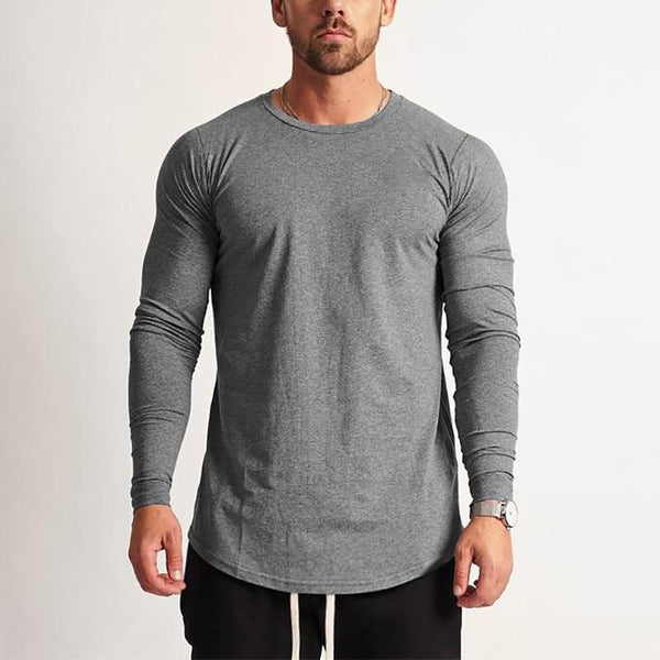 PINkart-USA Fashion Long Sleeve T Shirt Men Sporting T-Shirt Men Fitness Crossfit Men'S Solid O-Neck Gyms