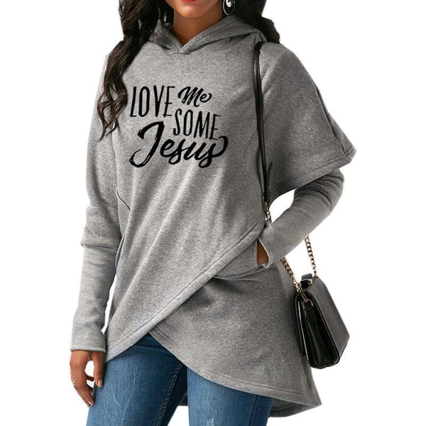 PINkart-USA Fashion Love Me Some Jesus Print Tops Hoodies Women Sweatshirts Corduroy Youth Pattern Girls