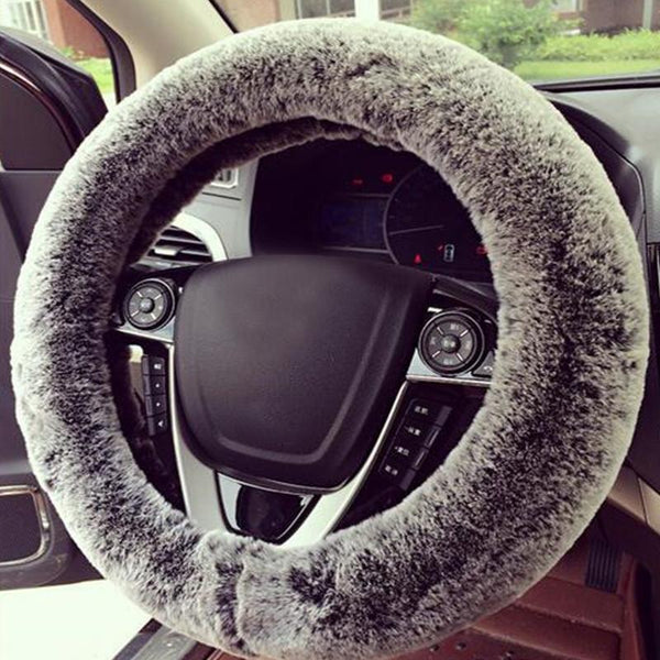 PINkart-USA Faux Rabbit Fur Car Steering Wheel Cover Black With Grey Winter Essential Universal Furry Fluffy
