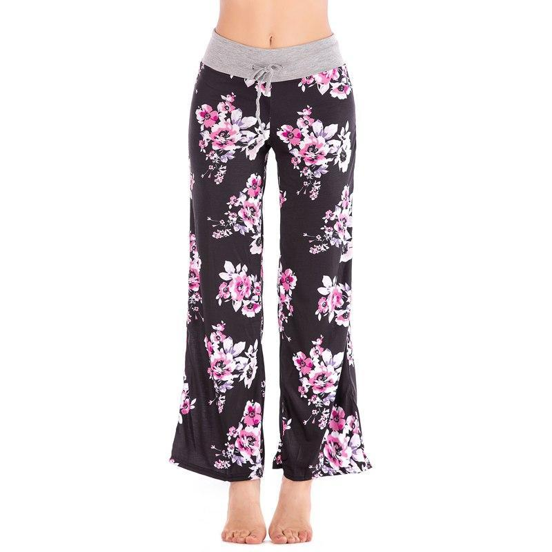 PINkart-USA Floral Casual Wide Leg Long Harem Pants High Waist Loose Elastic Waist Palazzo Trousers Plus Size