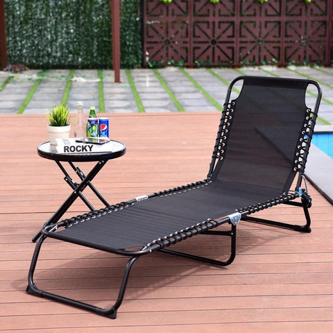 PINkart-USA Foldable 3 Positions Camping Cot Patio Chaise Lounge Chair Leisure Bed Yard Outdoor Furniture