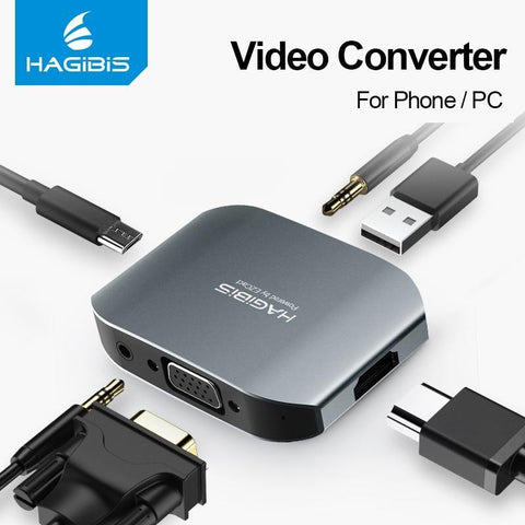 PINkart-USA For Apple series / <=0.5m Hdmi Vga Hd Adapter Pc Video Converter Audio Adapter Mobile Phone/Laptop Connected To Tv For Iphone