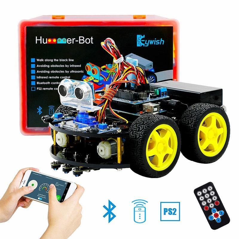 PINkart-USA For Arduino Robot Cars App Rc Remote Control Ultrasonic Bluetooth Robotics Learning Kit Educational