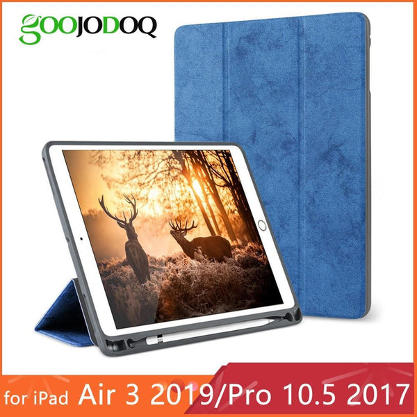 PINkart-USA For iPad Pro 10.5 Case with Pencil Holder for iPad Air 3 2019 Case Funda, GOOJODOQ Smart Cover for iPad Air 3 10.5 Case  2017